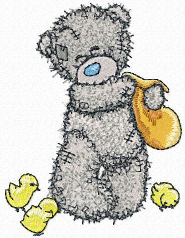 Teddy Bear feeding chickens machine embroidery design