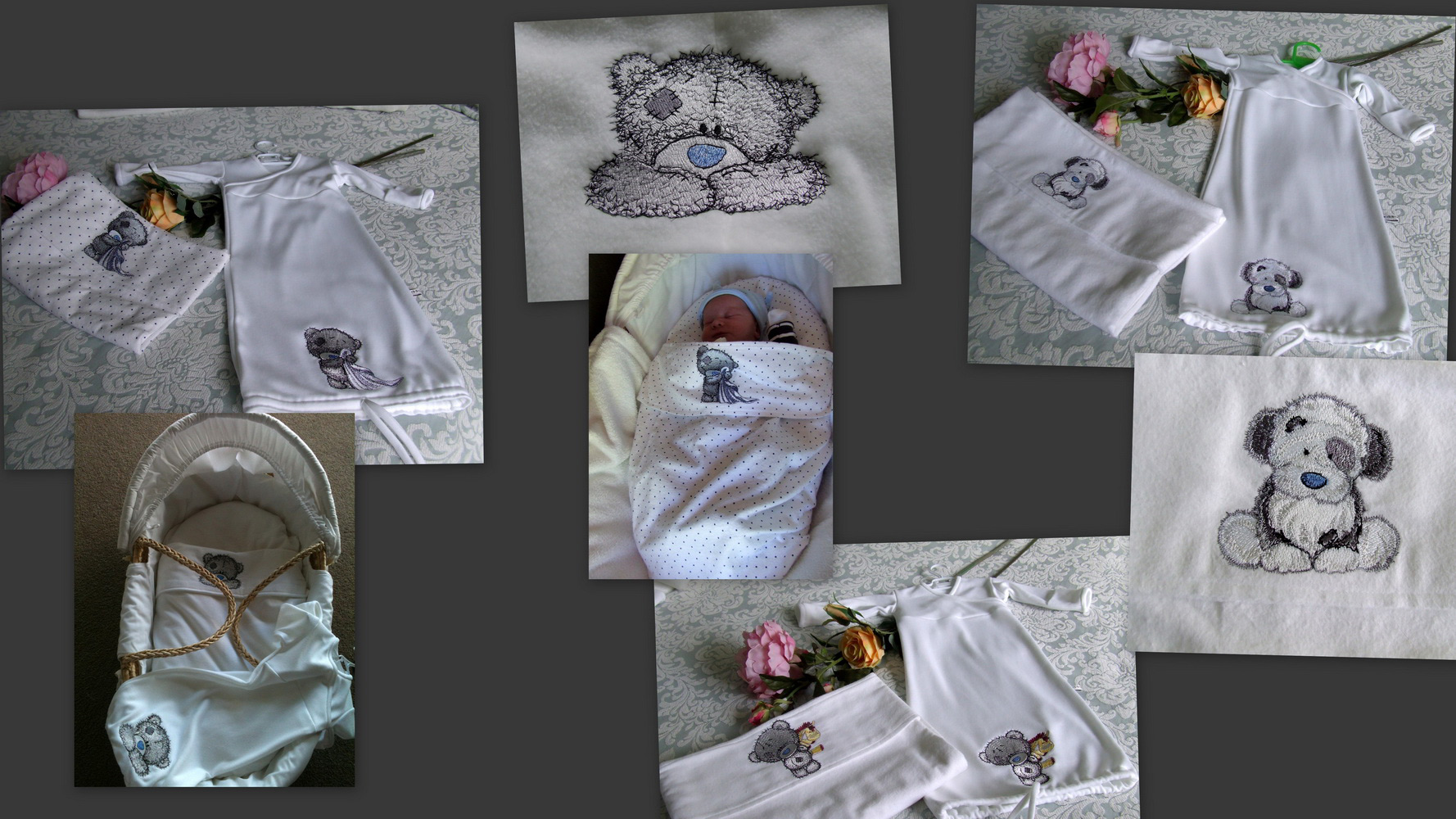 Teddy bear designs embroidered