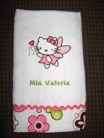 Hello kitty fairy design on towel embroidered
