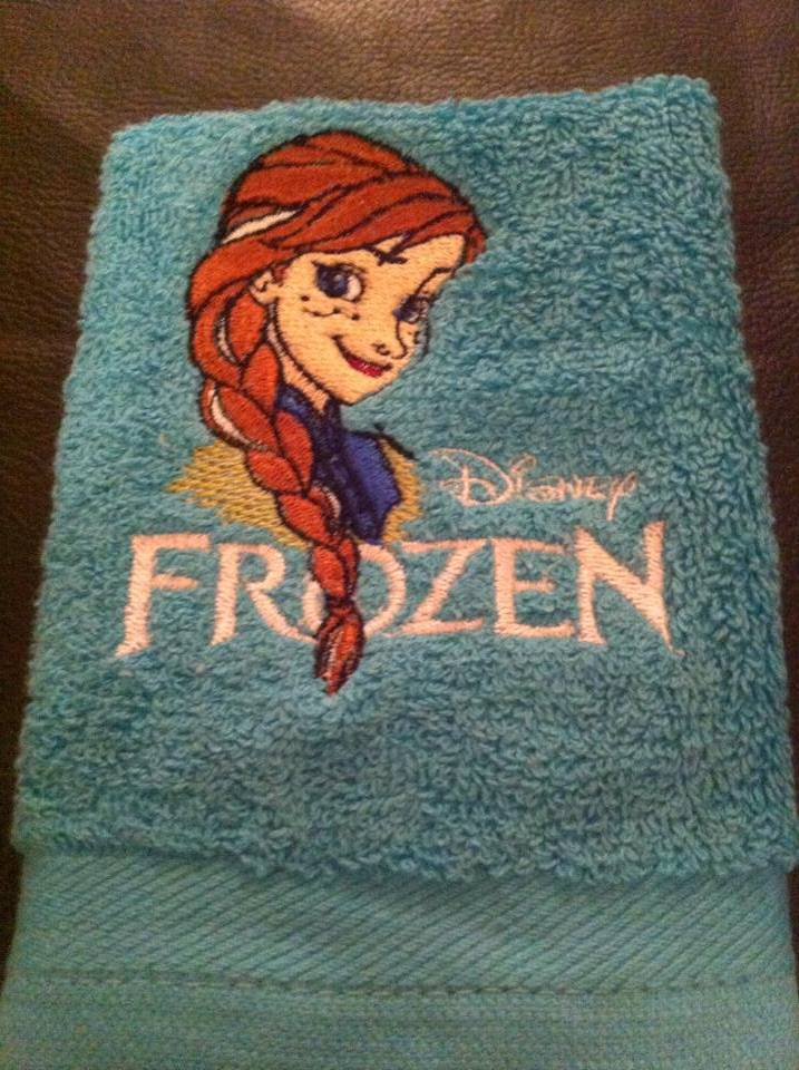Anna Frozen design on towel embroidered