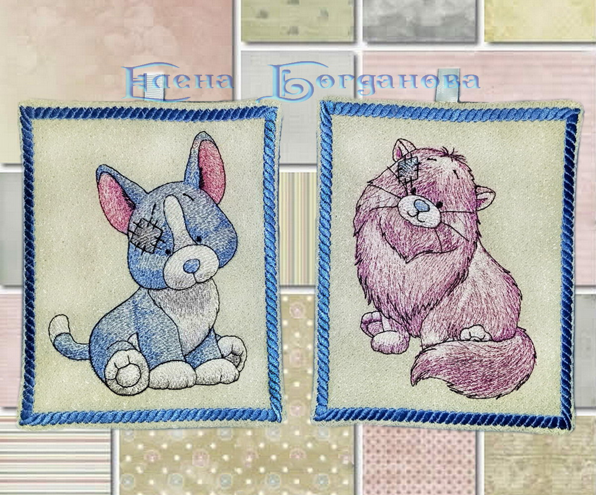 Blue nose friends cat and dog embroidered on potholders
