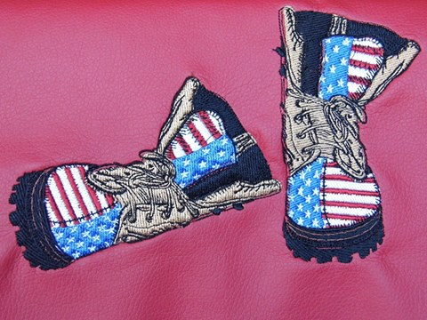 American military boot design embroidered