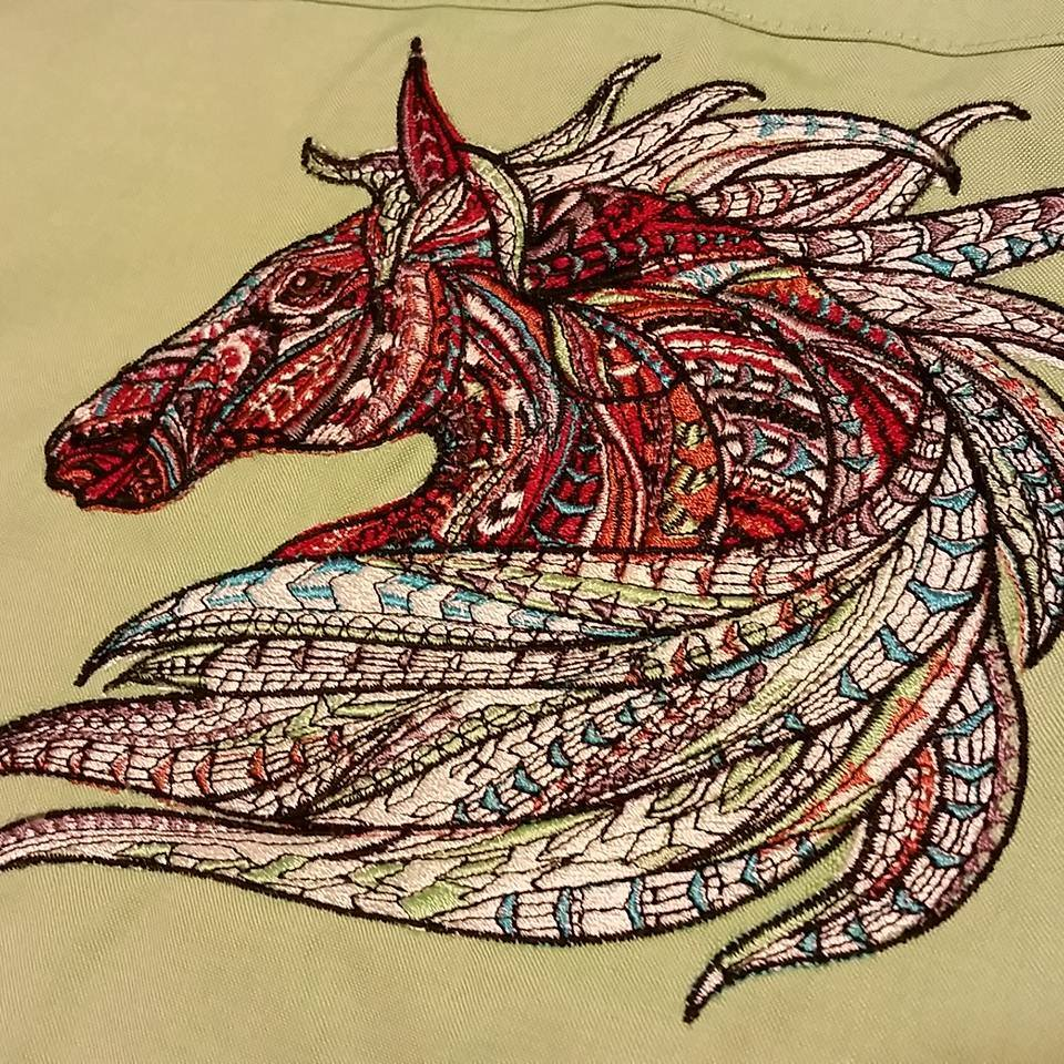 Mosaic horse design embroidered