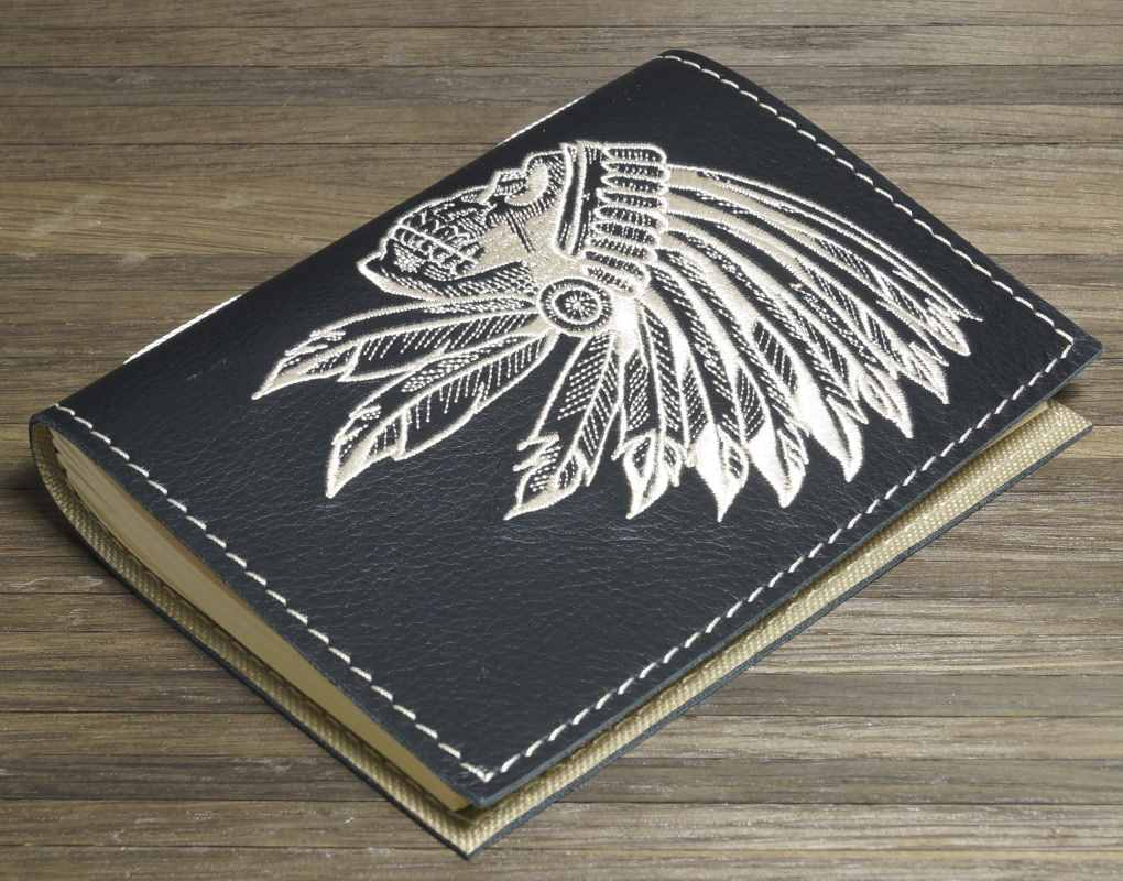 Notepad cover with indian skull embroidery design