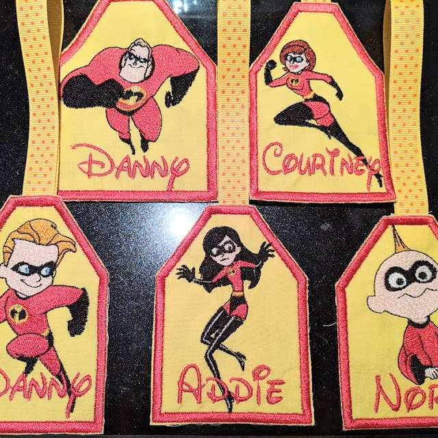 Embroidered bookmark with incredibles designs