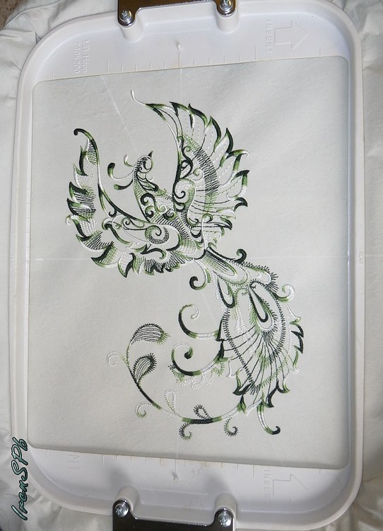 Embroidered Fantastic Bird design in cotton