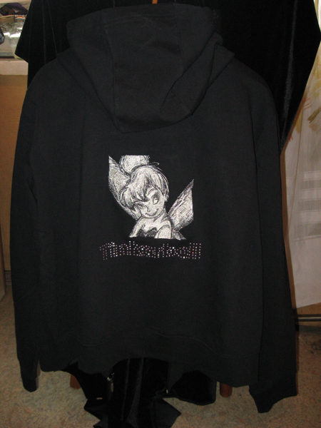 Tinkerbell black and white design on jacket