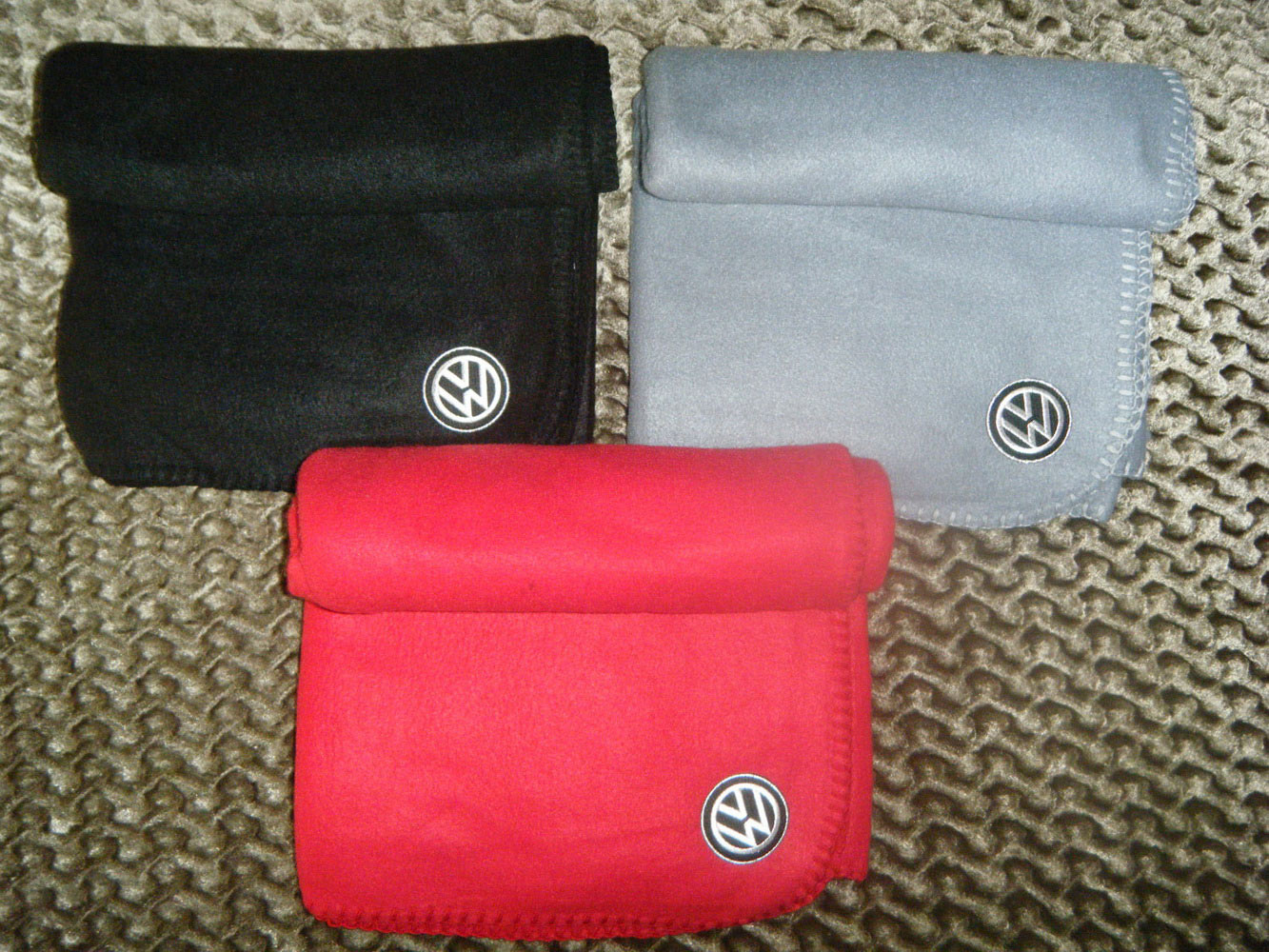 Volkswagen logo on embroidered blanket