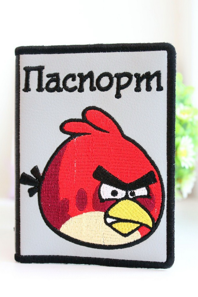 Angry birds logo design embroidered on cover