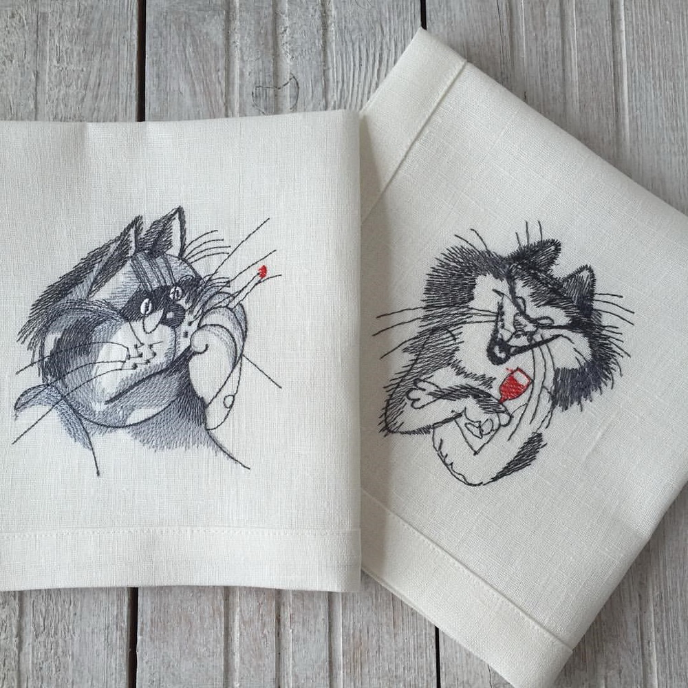 Cat designs embroidered