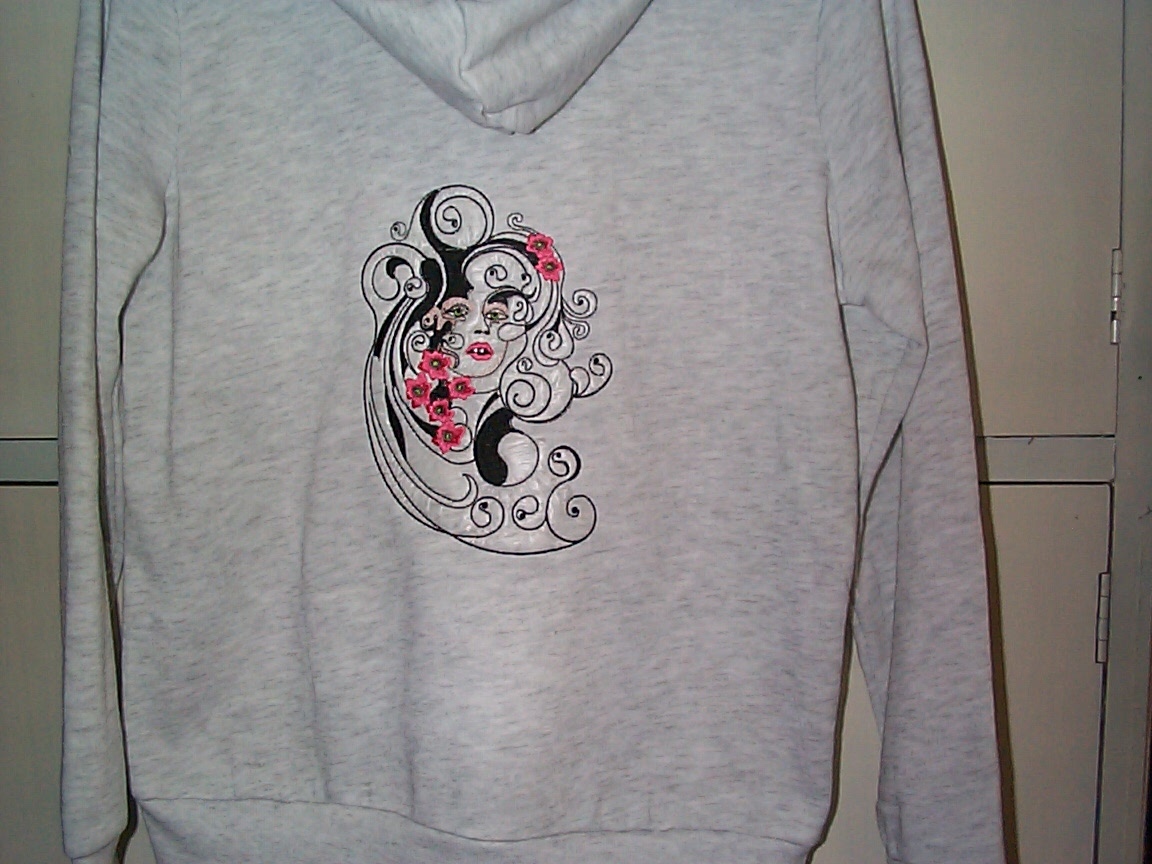 Embroidered hoodie with woman with flowers