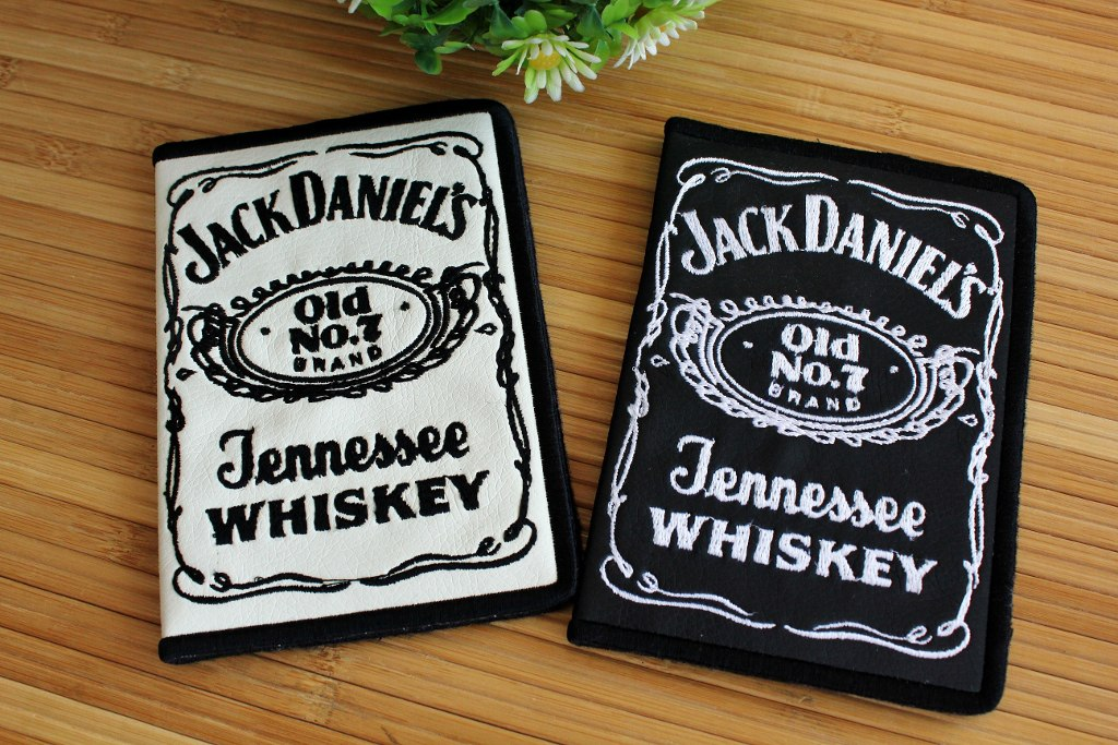 Documents cover with Jack Daniel's logo embroidery design