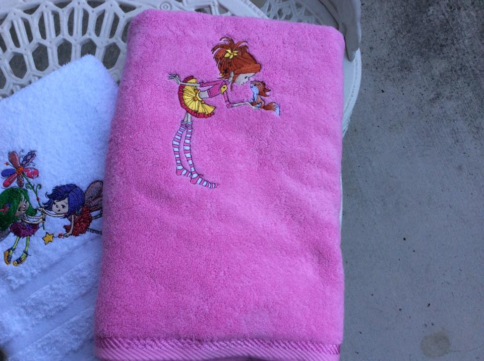 Towel with Girl and Squirrel embroidery design