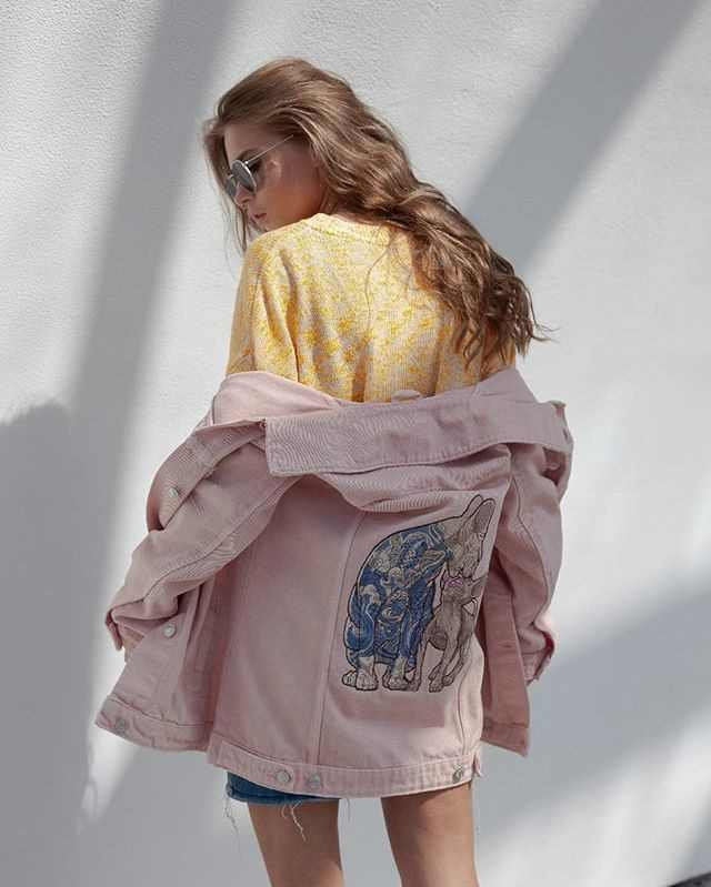 Jacket with cat and kitty sphynx embroidery design