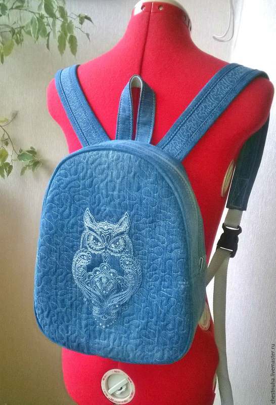 Stylish designer backpack with bird embroidery design