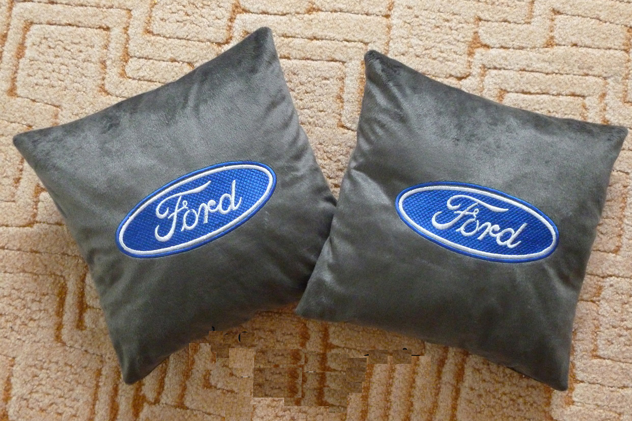 Ford embroidery design on pillowcase
