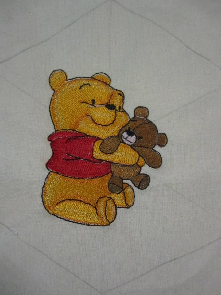 Baby Pooh with toy design embroidered