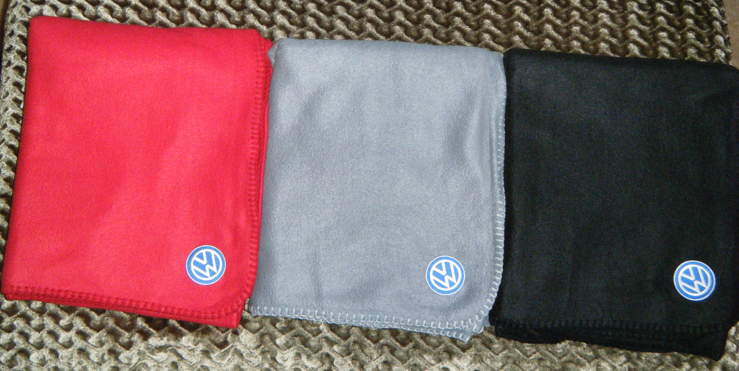 Volkswagen logo on blanket embroidered