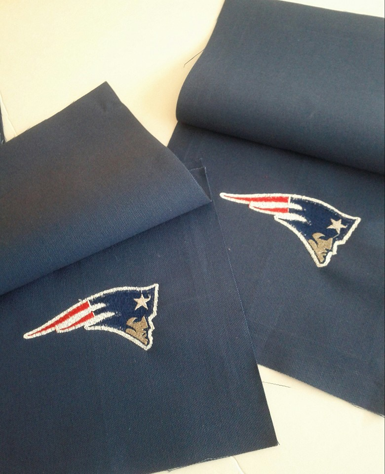 New England Patriots logo embroidered on blue pillowcase