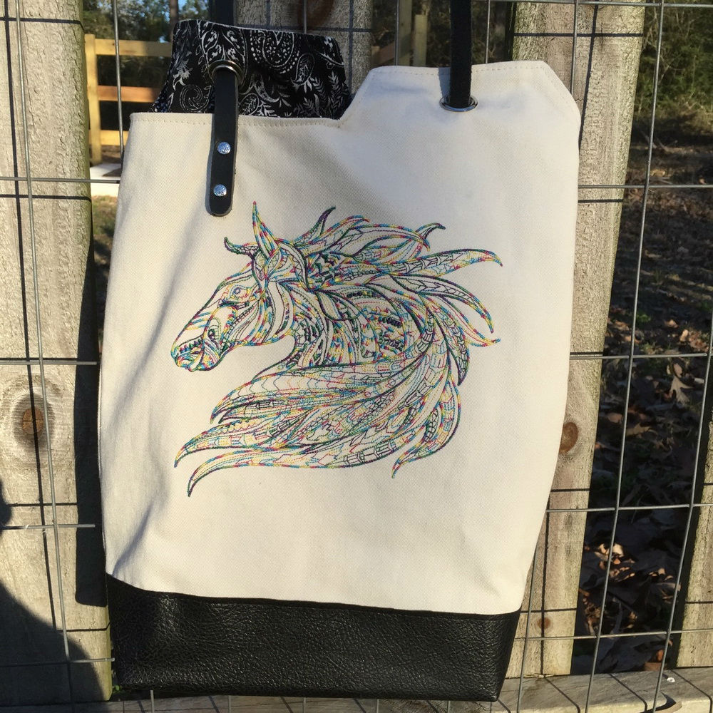 Mosaic horse design on bag embroidered