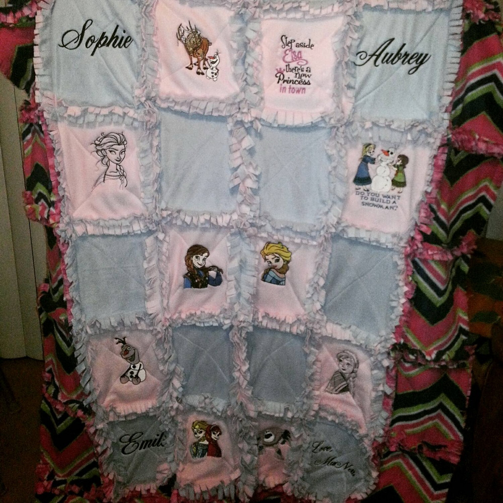 Embroidered quilt with Frozen designs