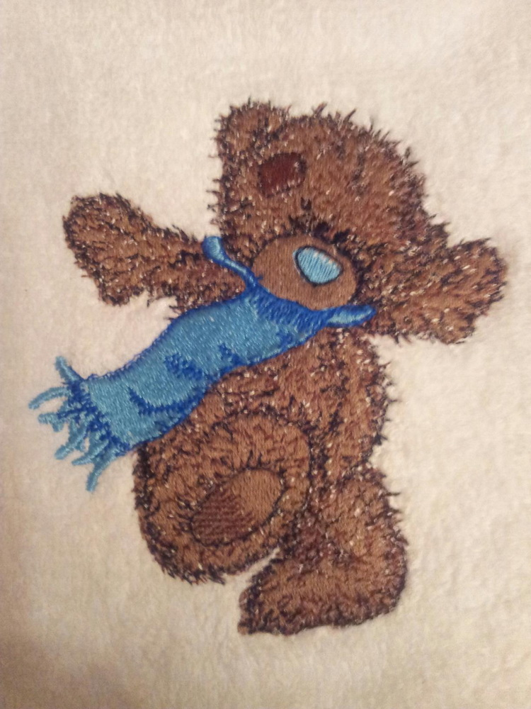 Teddy Bear like winter design on embroidered towel
