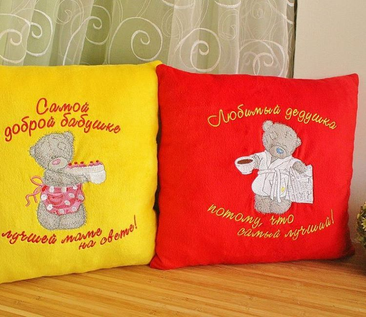 Tatty teddy designs embroidered on colorful pillowcases