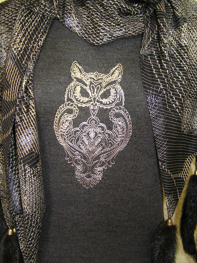 Owl blend on embroidered sweater