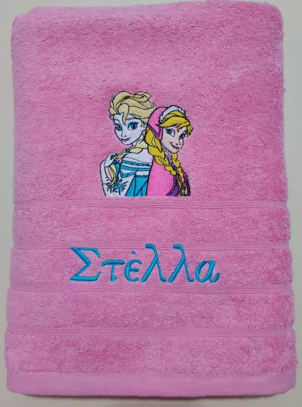Bath towel with Frozen sisters embroidery design