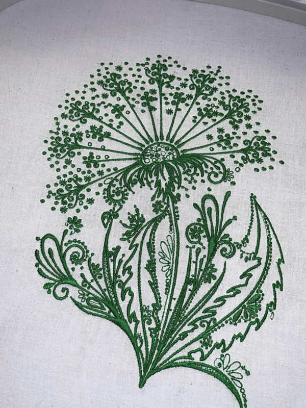 Dandelion dark green embroidered design