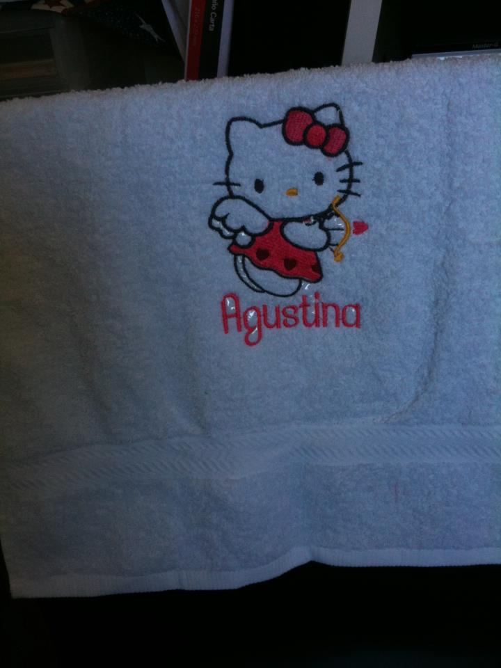 Hello Kitty embroidered on abth towel