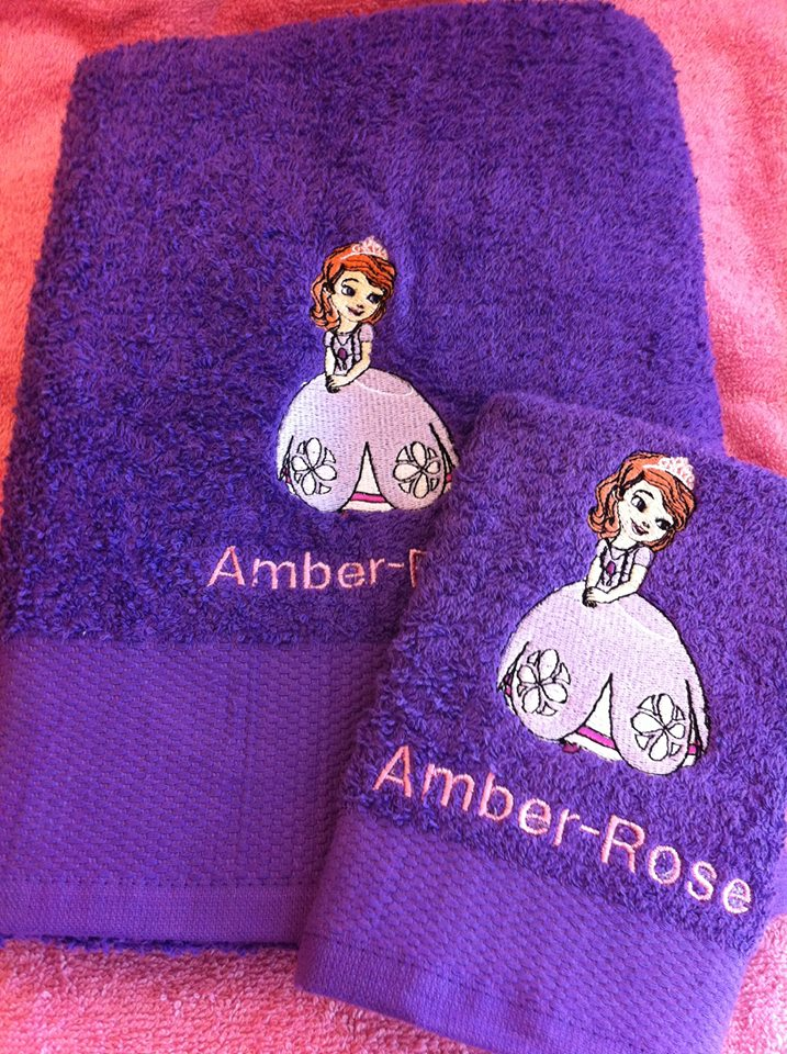 Sofia the first design embroidered on towel
