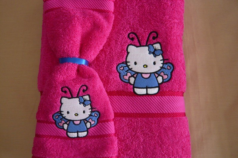 Embroidered Hello Kitty Butterfly design on towel