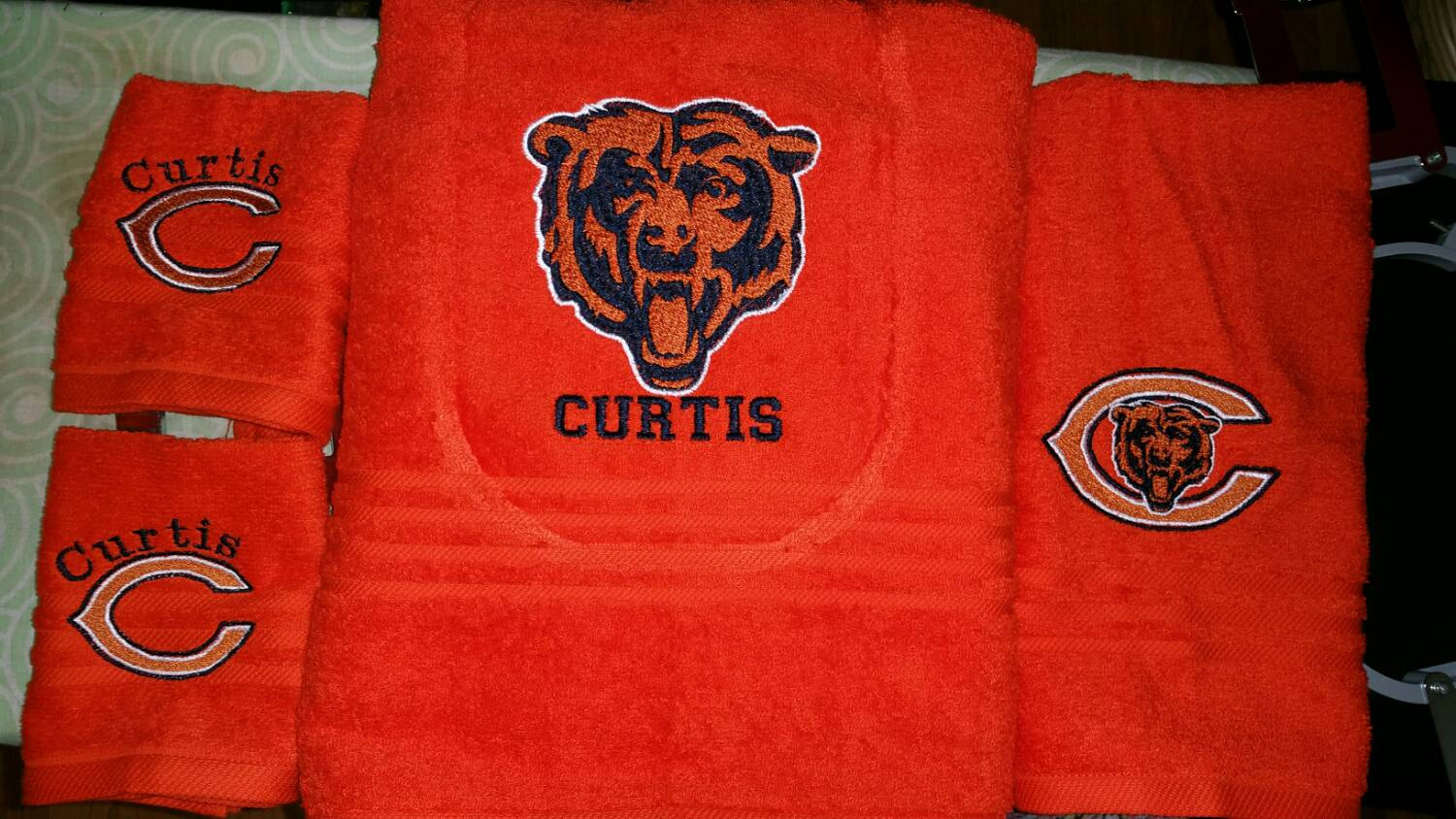 Embroidered bath towel with Chicago Bears Logo on it