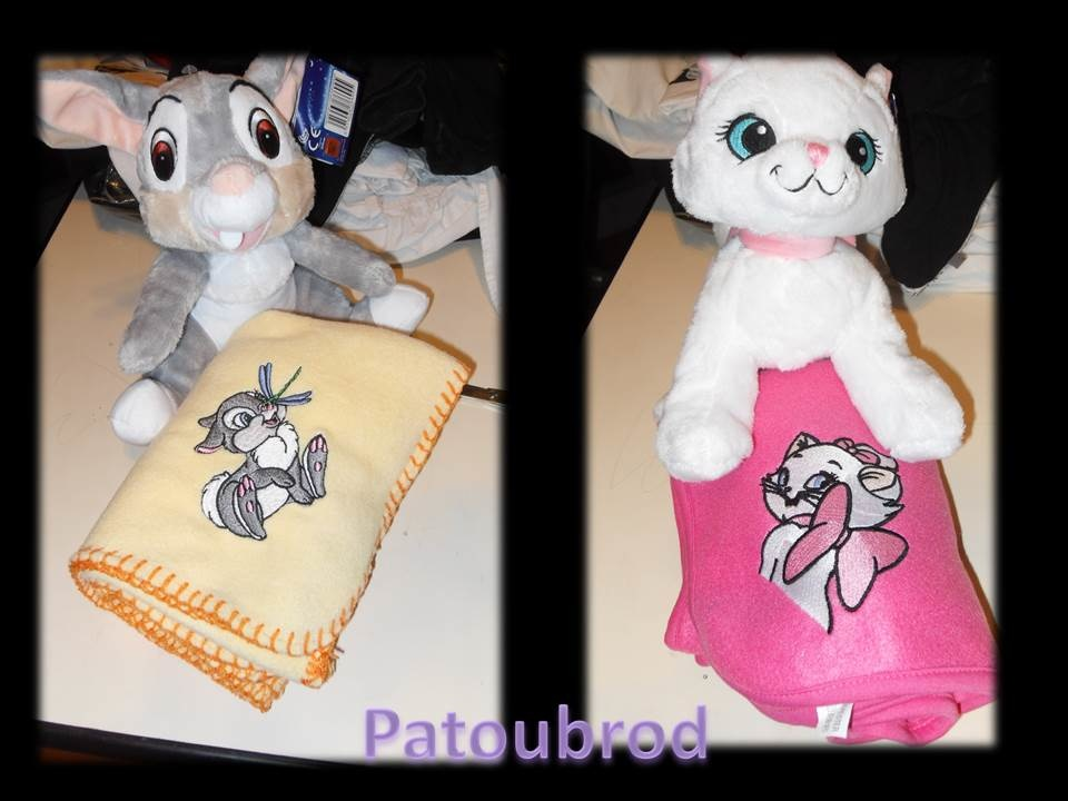 Bunny and kitten embroidered on fleece blankets