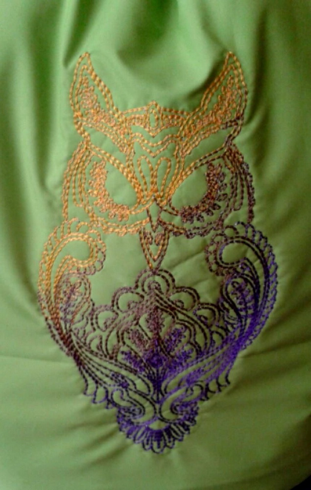 Owl blend design on bag embroidered