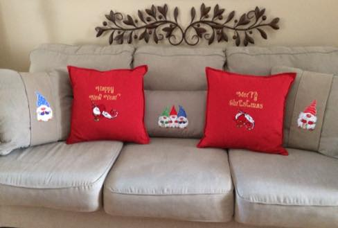 Sofa cushions with Dwarves embroidery designs