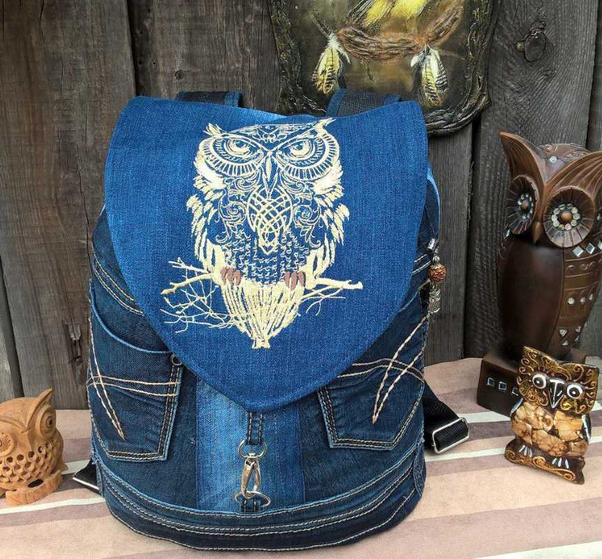 Backpack with Tribal owl embroidery design