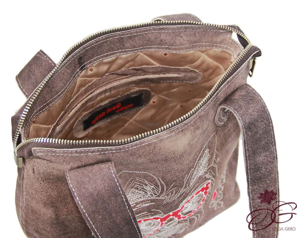 Fashion leather bag with dog embroidery