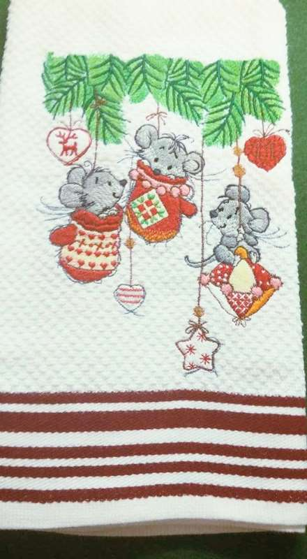 Bathroom towel with Christmas mice embroidery design
