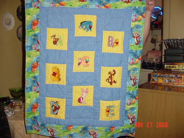 Winnie pooh with his best friends embroidered on baby blanket