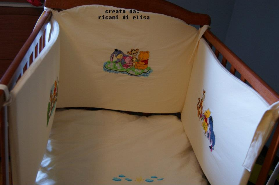 Winnie Pooh and friends designs on bed bumper embroidered