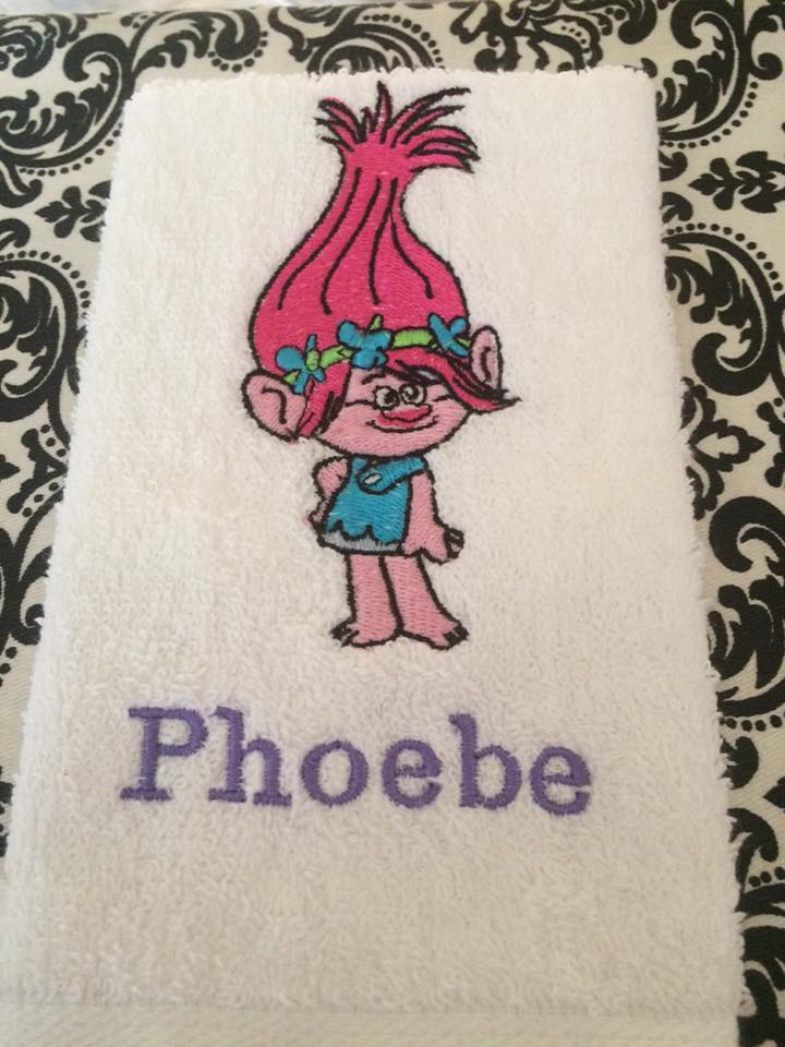 embroidered towel with princess poppy design