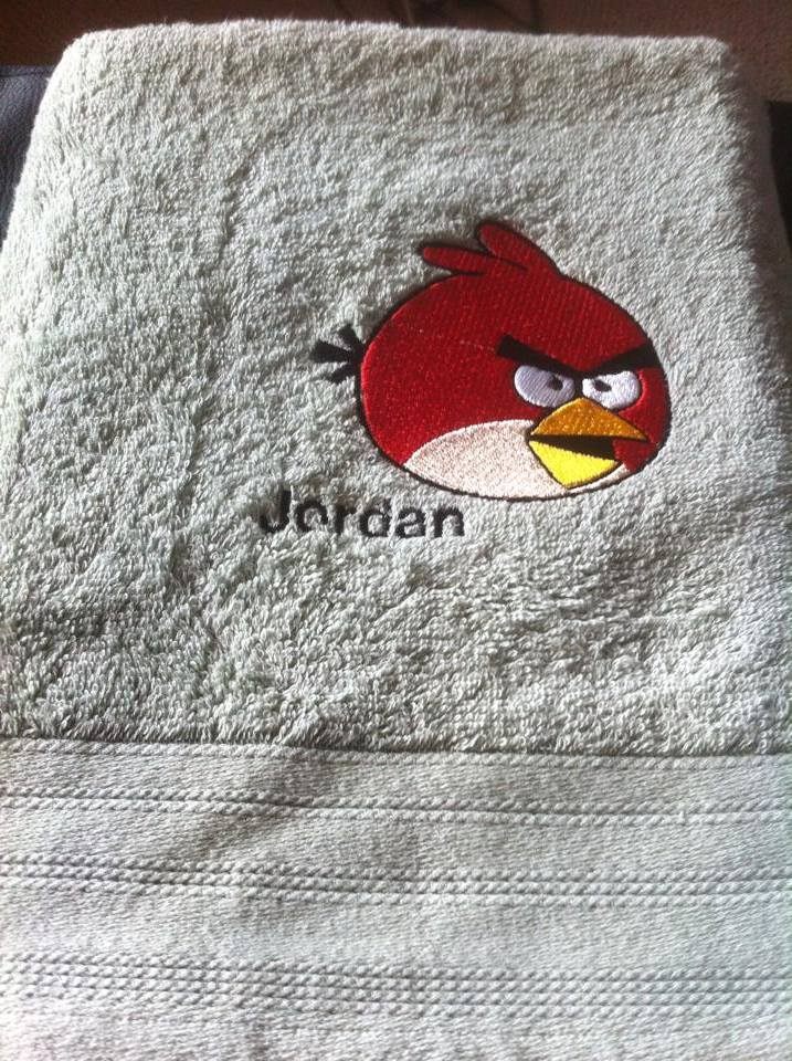 Angry birds logo embroidered on bath towel