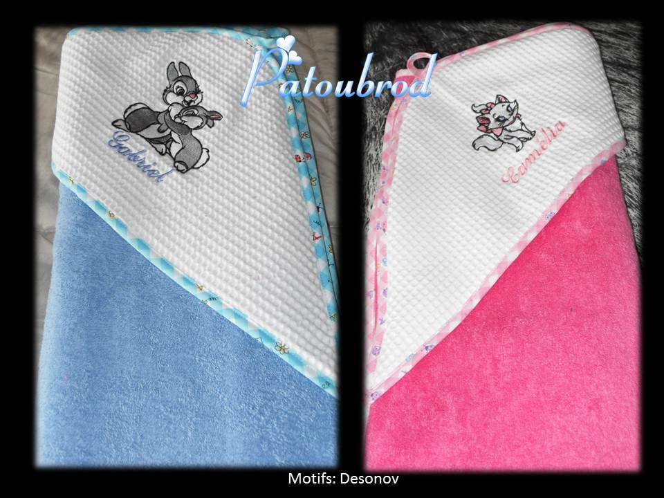 Disney bunnies and cat embroidered on baby towels