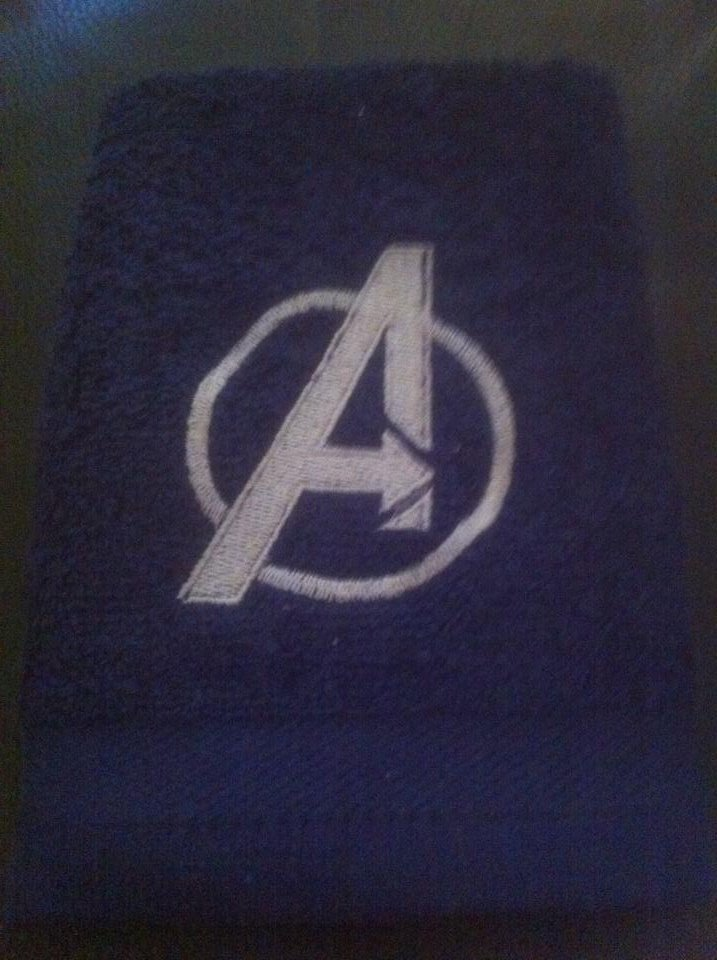 Avengers logo embroidery design on towel