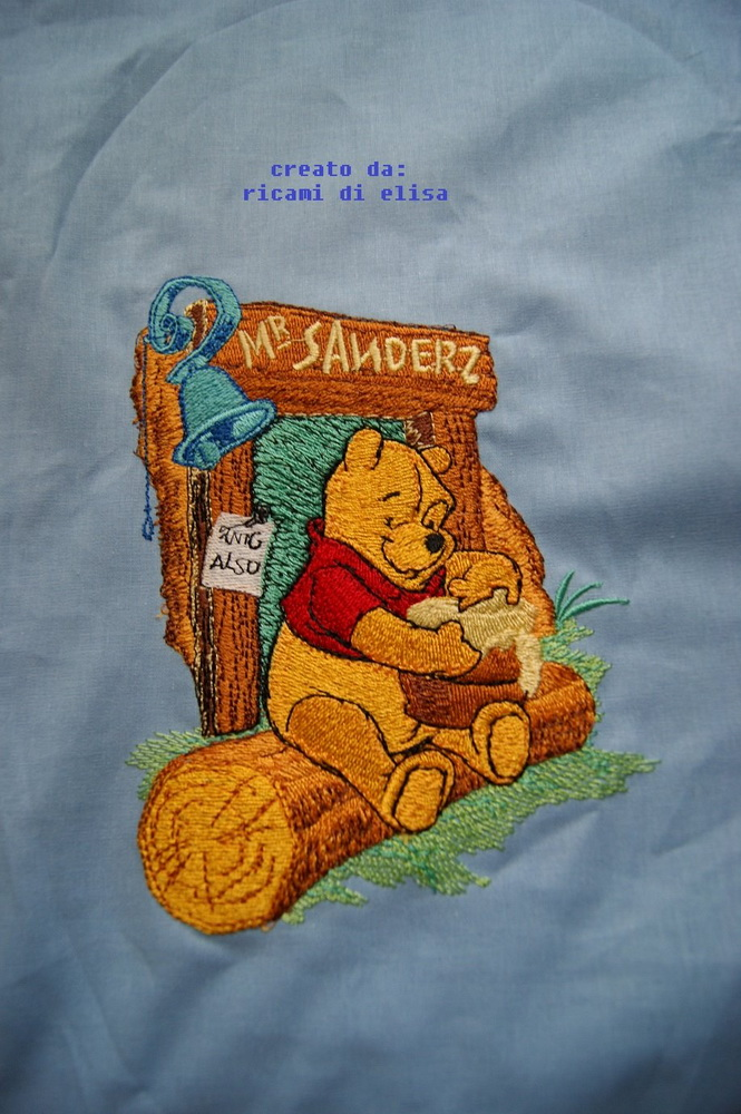 Winnie Pooh and honey design embroidered