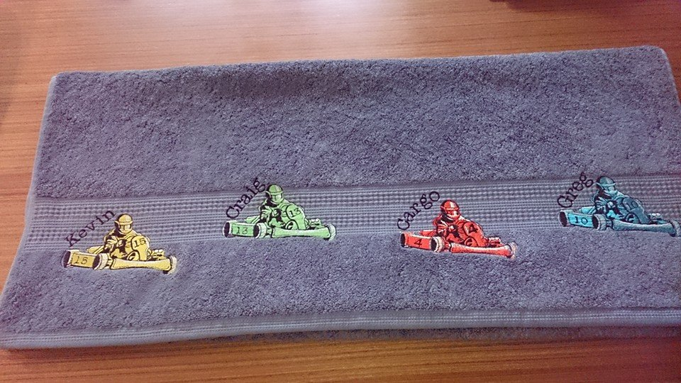 Karting design on towel embroidered