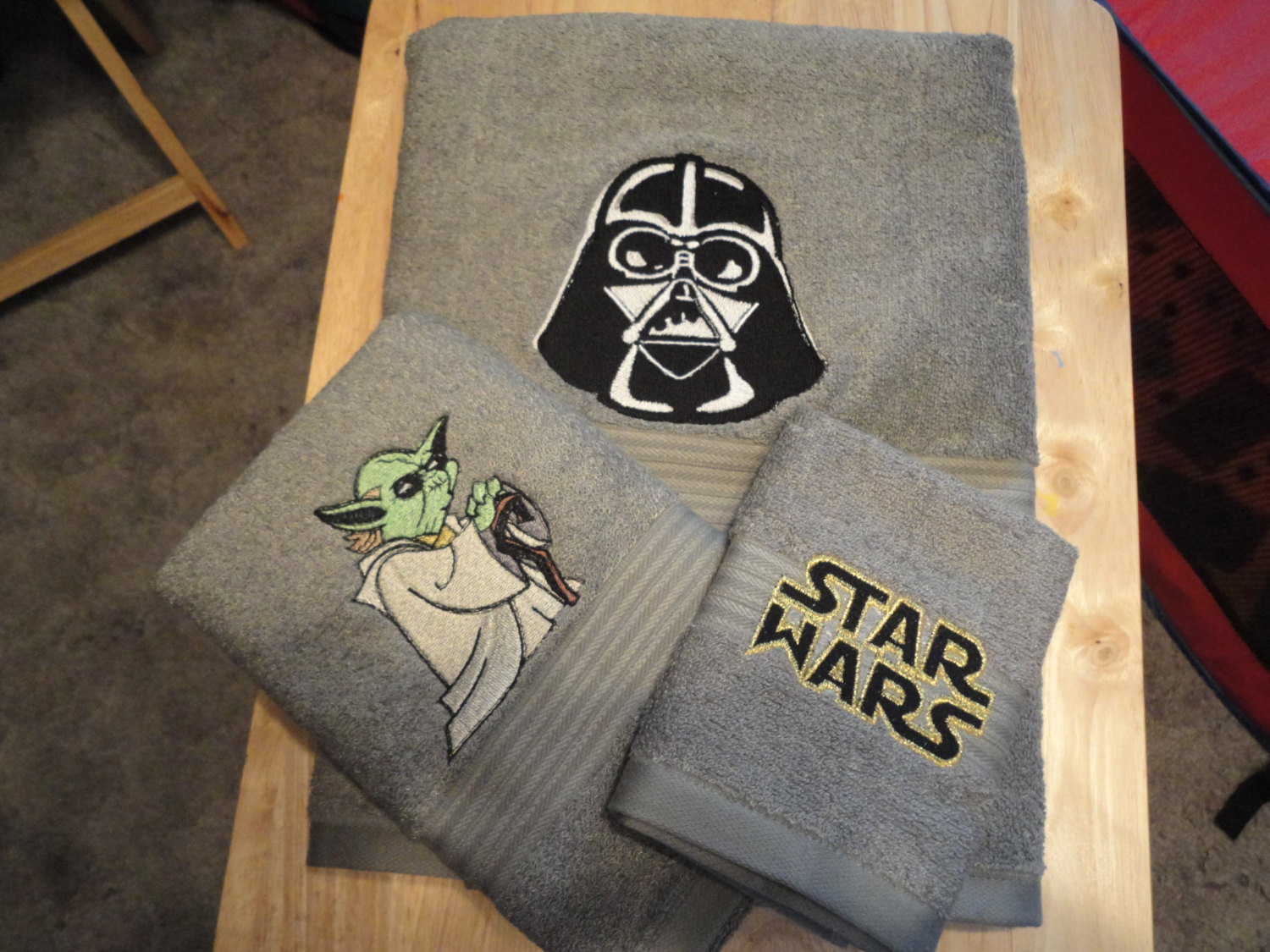 Darth Vader and Yoda embroidered on t-shirts