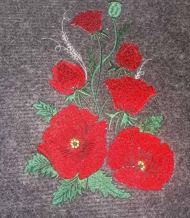 Red flower embroidered design